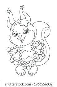 Squirrel in Dress for Party Coloring Page