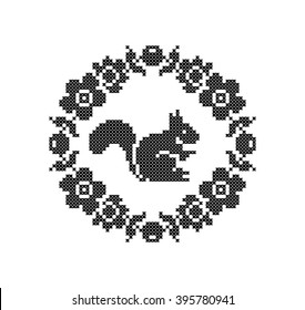 Squirrel. Flowers. Floral frame. Cross stitch. Scheme of knitting and embroidery. Vector.