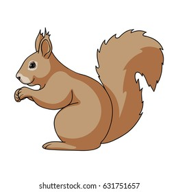 Squirrel is a forest animal. The squirrel has a fluffy tail. A tick refers to a family of rodents.Animals single icon in cartoon style vector symbol stock illustration web.