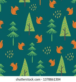squirrel hand drawn seamless pattern vector illustration with jungle theme