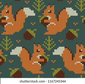 Squirrel jacquard knitted seamless pattern. Forest background with cute animals. Vector illustration.