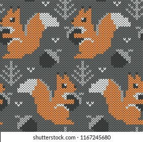 Squirrel jacquard knitted seamless pattern. Grey background with cute animals. Vector illustration.