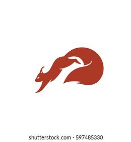 Squirrel jumping - vector illustration