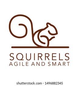 squirrel line art logo design vector template