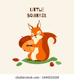 Squirrel little hugging acorn and standing on grass in forest banner vector illustration. Loving nuts. Animal likes eating food. Cute, lovely character. Forest. Falling leaves.