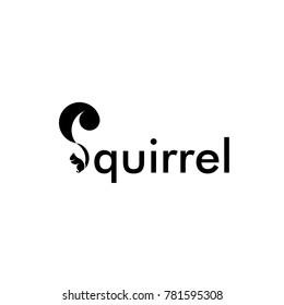 Squirrel Logo Design, Letter S Squirrel