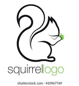 Squirrel Logo. Outline Squirrel. Template Logo Company. Company Logo Design