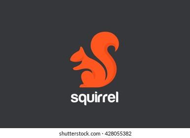 Squirrel Logo silhouette design vector template.