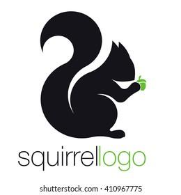 Squirrel Logo. Silhouette Squirrel. Template Logo Company. Company Logo Design