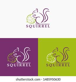 squirrel minimalist logo hand draw vector