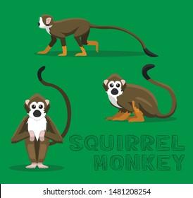 Squirrel Monkey Cartoon Vector Illustration