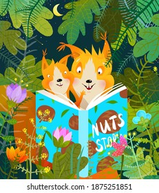 Squirrel mother and baby in forest reading story book to her cub studying and learning. Cute animal cartoon greeting card design for kids education. Children vector illustration in watercolor style.