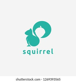 Squirrel and nuts, negative space logo icon