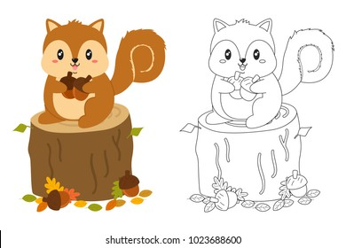 Squirrel On Top Of A Tree Trunk Holding Acorns Black And White Outline Cartoon Vector