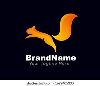 Eichhörnchen-Orange-Start-Jump High Logo Design Inspiration