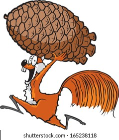 Squirrel with Pinecone A cartoon squirrel running with a pinecone. Layered vector file.