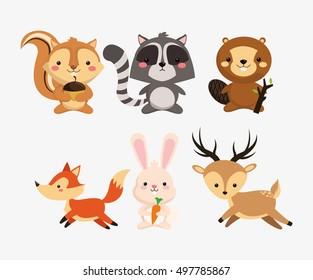 squirrel raccoon beaver fox rabbit and deer icons image