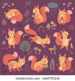 Squirrel set hand drawn style. Cute Woodland characters playing, sleeping, relaxing and having fun.  Vector illustration.