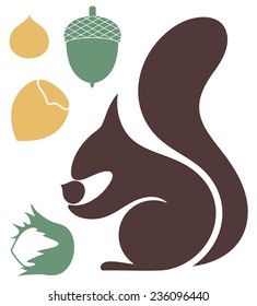 Squirrel silhouette. Isolated squirrel on white background. EPS 10. Vector illustration