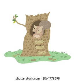 Squirrel in tree hole vector illustration cartoon. Cute pastel squirrel cartoon.