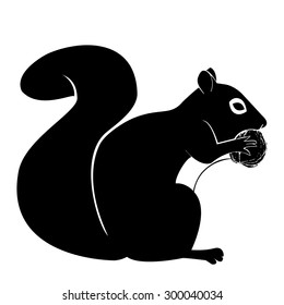 Squirrel vector illustration with nut