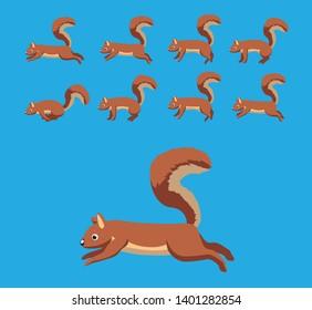 Squirrel Walking Motion Animation Sequence Cartoon Vector Illustration