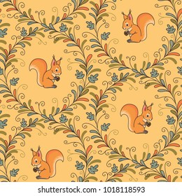 Squirrels in curling branches on yellow background. Seamless pattern for textile design and decoration