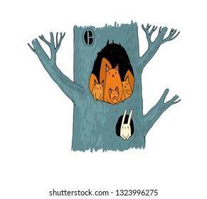 Squirrels in the hollow. Magic Tree. Children's Tale.