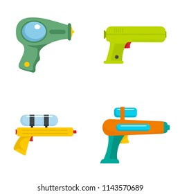 Squirt gun water pistol game icons set. Flat illustration of 4 squirt gun water pistol game vector icons isolated on white