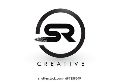 SR Brush Letter Logo Design with Black Circle. Creative Brushed Letters Icon Logo.