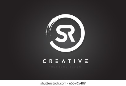 SR Circular Letter Logo with Circle Brush Design and Black Background.
