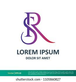 SR Letter Vector Icon Logo Template