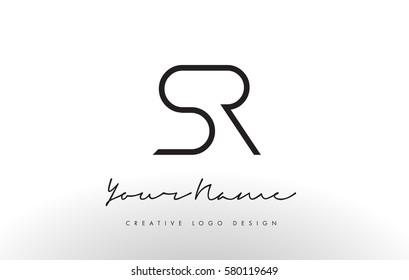 SR Letters Logo Design Slim. Simple and Creative Black Letter Concept Illustration.