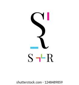 S,R letters vector logo. SR business logo. Typographic sign, symbol. emblem, badge