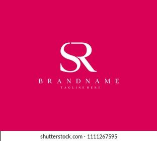 SR Logotype Company Letter Design Vector