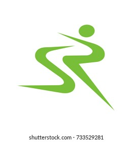 SR or RS logo initial letter design template vector as an abstract running figure