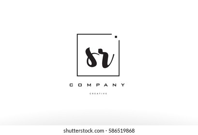 sr s r hand writing written black white alphabet company letter logo square background small lowercase design creative vector icon template