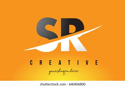 SR S R Letter Modern Logo Design with Swoosh Cutting the Middle Letters and Yellow Background.