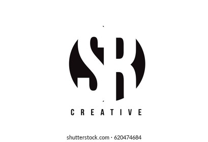 SR S R White Letter Logo Design with Circle Background Vector Illustration Template.