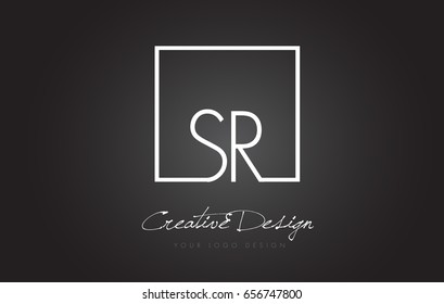 SR Square Framed Letter Logo Design Vector with Black and White Colors.
