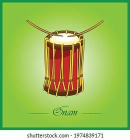 sri Guru Chenda Musical Drum vector color illustration