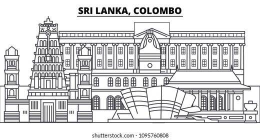 Sri Lanka, Colombo line skyline vector illustration. Sri Lanka, Colombo linear cityscape with famous landmarks, city sights, vector landscape.