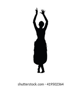 Sri Lanka dancing. Woman Kandy dancer. Vector silhouette. Slim beautiful girl dancing traditional dance