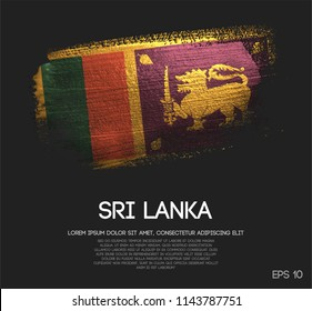Sri Lanka Flag Made of Glitter Sparkle Brush Paint Vector