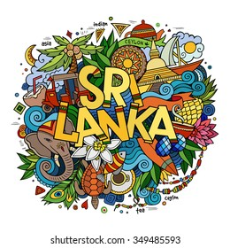 Sri Lanka hand lettering and doodles elements and symbols background. Vector hand drawn colorful illustration