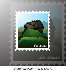 Sri Lanka Sigiriya Rock Stamp Vector