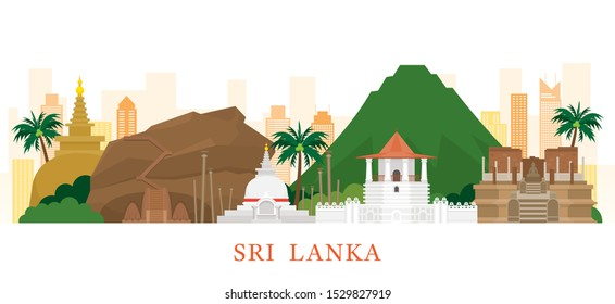 Sri Lanka Skyline Landmarks in Flat Style, Famous Place and Historical Buildings, Travel and Tourist Attraction
