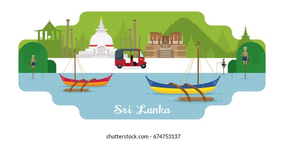 Sri Lanka Travel and Attraction Landmarks, Famous Place, Cityscape, Sea and Land