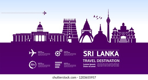 Sri Lanka Travel Destination Vector.