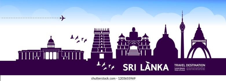 Sri Lanka Travel Destination Vector.